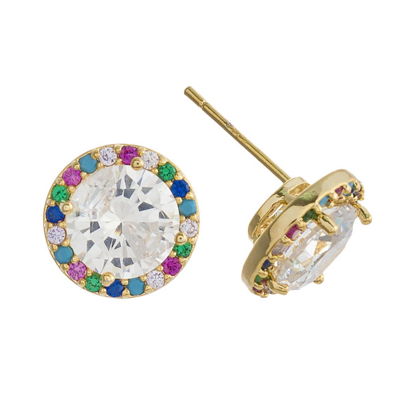 Rhinestone stud earrings featuring multicolor cubic zirconia details. Approximately 1 cm in diameter.