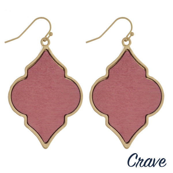 "Lotus inspired drop earrings featuring wood centered detail. Approximately 2"" in length."