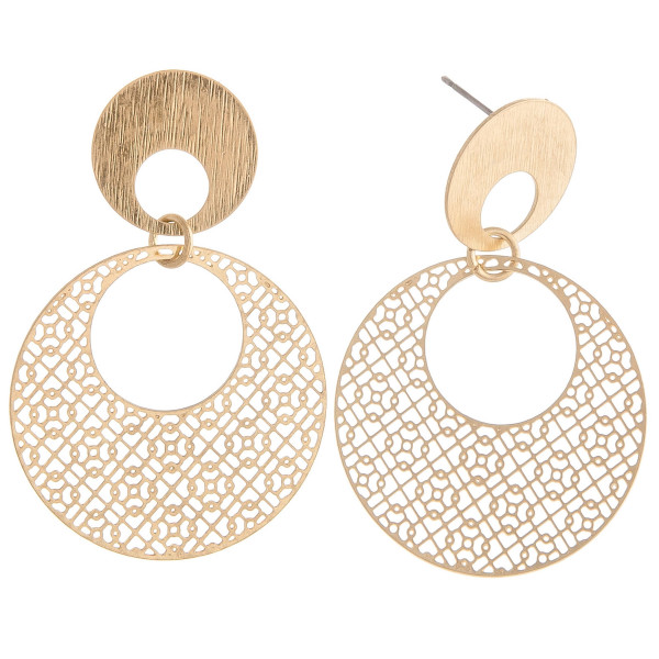 "Circular filigree inspired earrings featuring a stud post. Approximately 2"" in length."