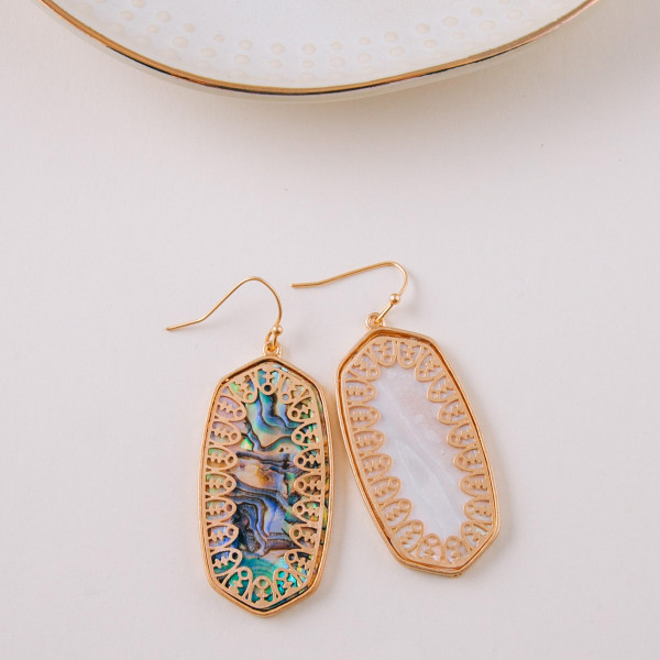 """Long metal earrings featuring abalone inspired details and gold accents. Approximately 1.5"""" in length."""