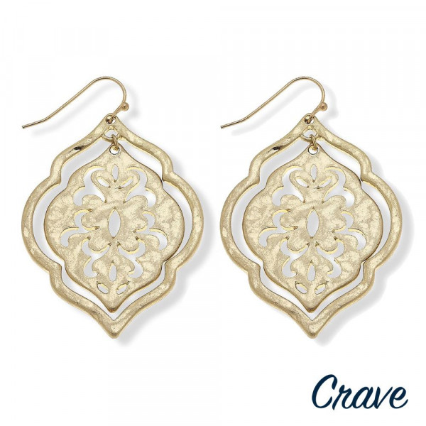"Lotus inspired metal earrings featuring a pattern centered detail. Approximately 2"" in length."