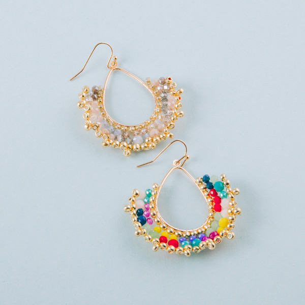 """Beaded teardrop inspired earrings featuring faceted bead details and gold beaded accents. Approximately 2"""" in length."""