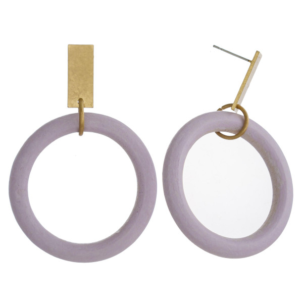 Wholesale circular wood earrings gold metal stud accent