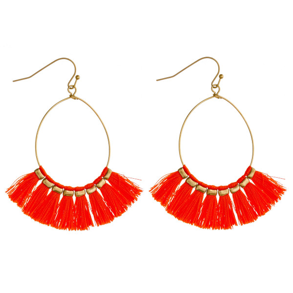 Wholesale dainty teardrop earrings neon tassel details gold accents