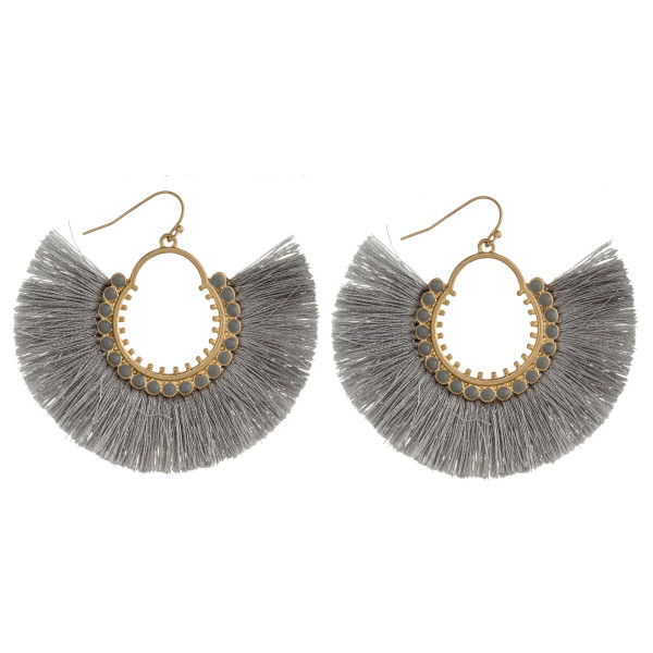 """Metal drop earrings featuring tassel details with gold and acrylic colored accents. Approximately 2"""" in length."""