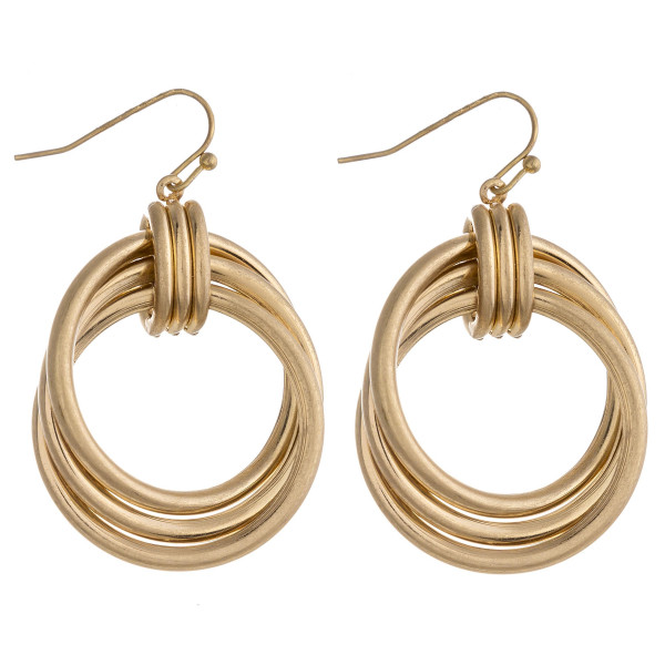 """Circular metal drop earrings featuring a layered detail. Approximately 1.5"""" in length."""