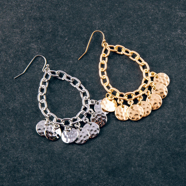 """Chain link inspired teardrop earrings featuring disc accents. Approximately 2"""" in length."""