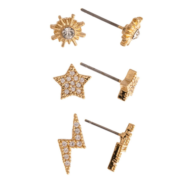 Trio stud earring set featuring the north star, stars, and lightning bolt accents with cubic zirconia details. Approximately 1cm in size.