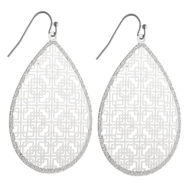 "Filigree inspired teardrop earrings. Approximately 2"" in length."