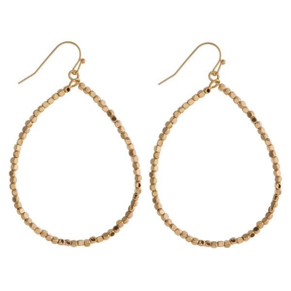 """Long beaded teardrop earrings. Approximately 2.5"""" in length."""
