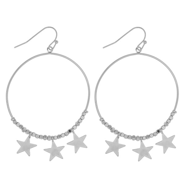 "Round beaded earrings featuring star accents. Approximately 2.5"" in length."