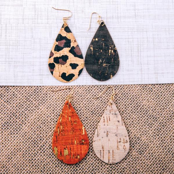 """Cork inspired teardrop earrings. Approximately 2.5"""" in length."""