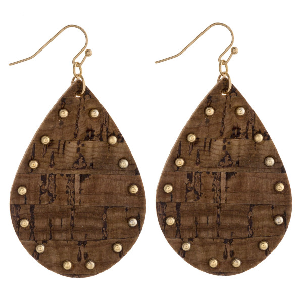 """Cork inspired teardrop earrings featuring gold beaded accents. Approximately 2"""" in length."""