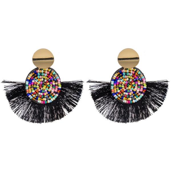 """Seed beaded felt disc earrings with tassel details and gold stud accents. Approximately 2.5"""" in length."""