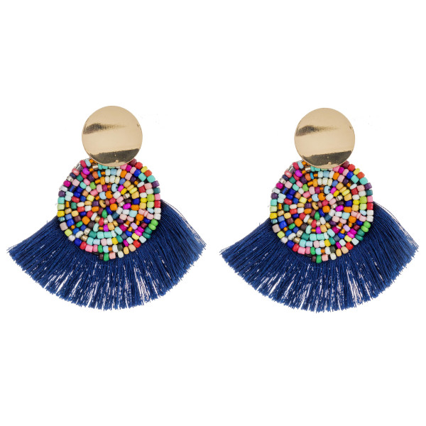 "Seed beaded felt disc earrings with tassel details and gold stud accents. Approximately 2.5"" in length."