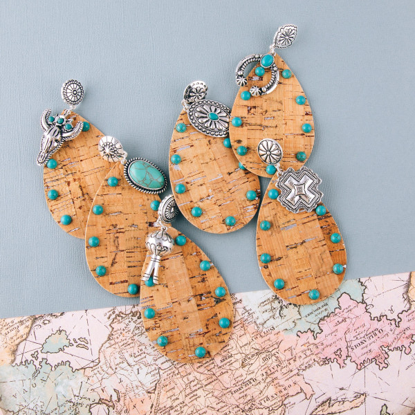 """Large western style cork teardrop earrings with natural stone details. Approximately 3.5"""" in length."""