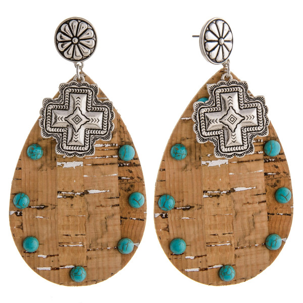 "Large western style cork teardrop earrings with natural stone details. Approximately 3.5"" in length."