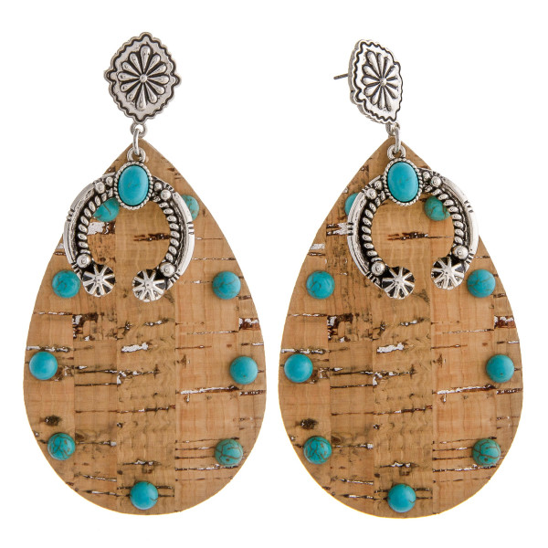 """Large cork inspired teardrop earrings featuring a metal horseshoe detail with natural stone accents and a wester flower stud post. Approximately 3.5"""" in length."""