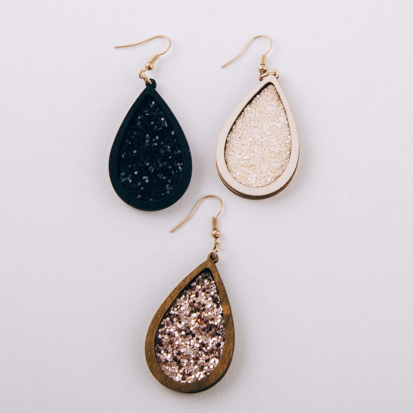 "Wooden glitter teardrop dangle earrings. Approximately 2.5"" in length."