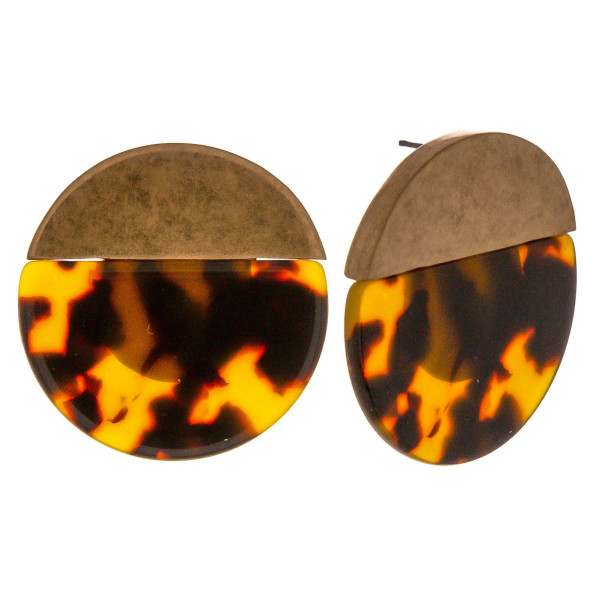 """Resin inspired disc drop earrings featuring tortoise shell details and a gold metal accent. Approximately 1.5"""" in diameter."""