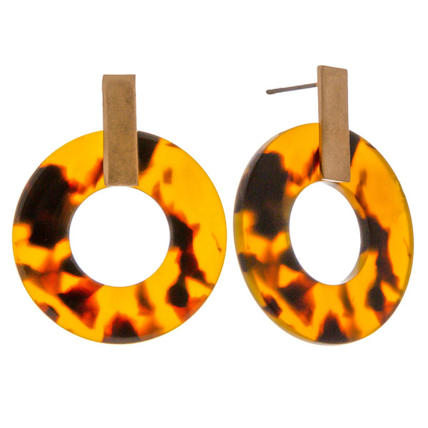 """Circular resin inspired drop earrings featuring tortoise shell details and a gold metal stud accent. Approximately 1.5"""" in length."""