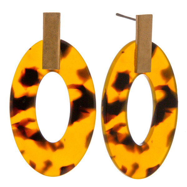 """Resin inspired drop earrings featuring tortoise shell details and a gold metal stud accent. Approximately 1.5"""" in length."""