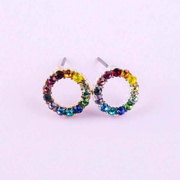 Dainty circular stud earrings featuring multicolor cubic zirconia details. Approximately 1cm in diameter.