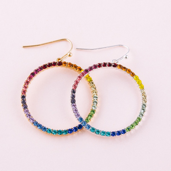 """Circular metal earrings featuring multicolor cubic zirconia details. Approximately 1.5"""" in length."""