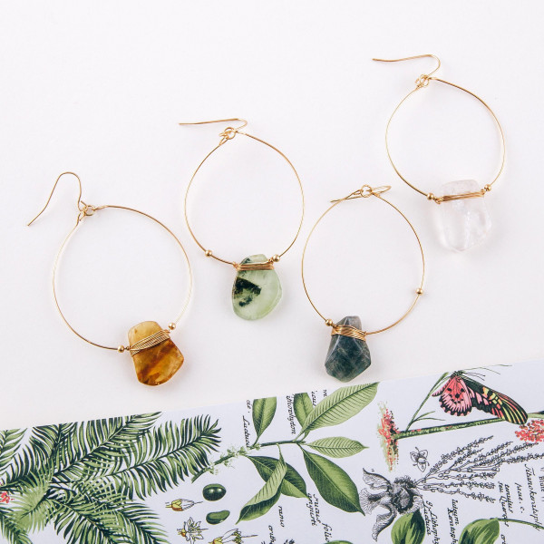 "Dainty circular drop earrings featuring a resin inspired accent with wire wrapped details. Approximately 3"" in length."