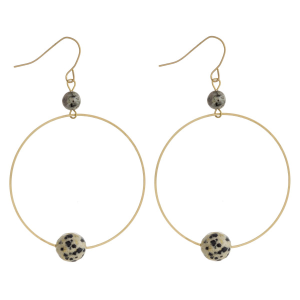 """Dainty circular drop earrings featuring natural stone accents. Approximately 2.5"""" in length."""