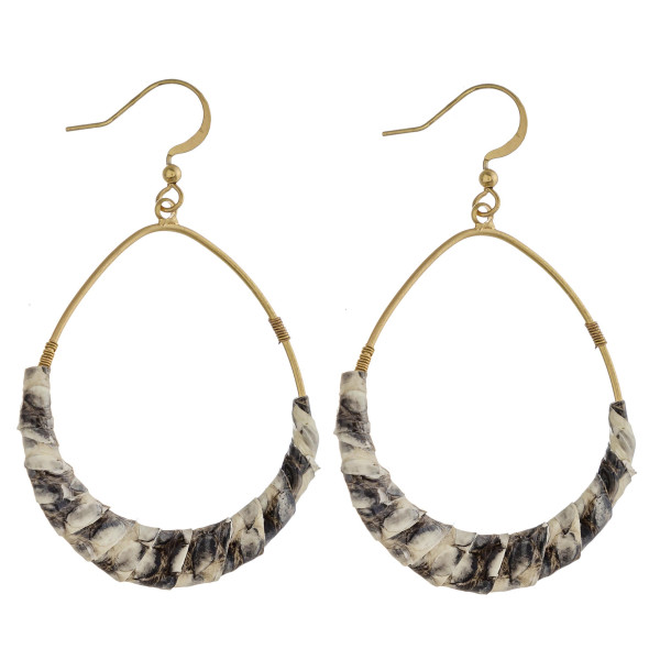 """Teardrop earrings featuring faux leather snakeskin wrapped details. Approximately 2.5"""" in length."""