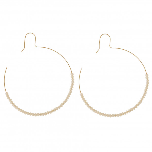 """Large dainty hoop earrings featuring faceted beaded details. Approximately 2.5"""" in diameter."""