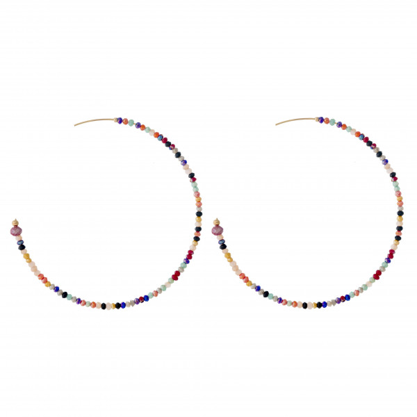 "Large hoop earrings featuring flexible wiring with iridescent beaded details and a stud post. Approximately 2.5"" in diameter."