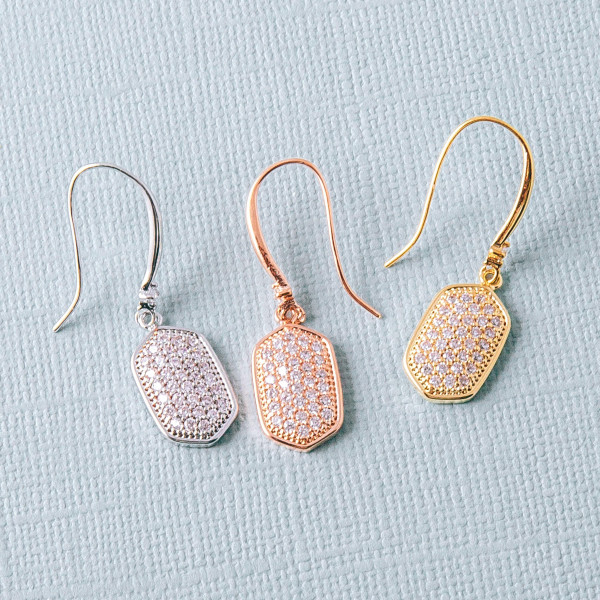 """Metal bar drop earrings featuring cubic zirconia details. Approximately 1.5"""" in length."""
