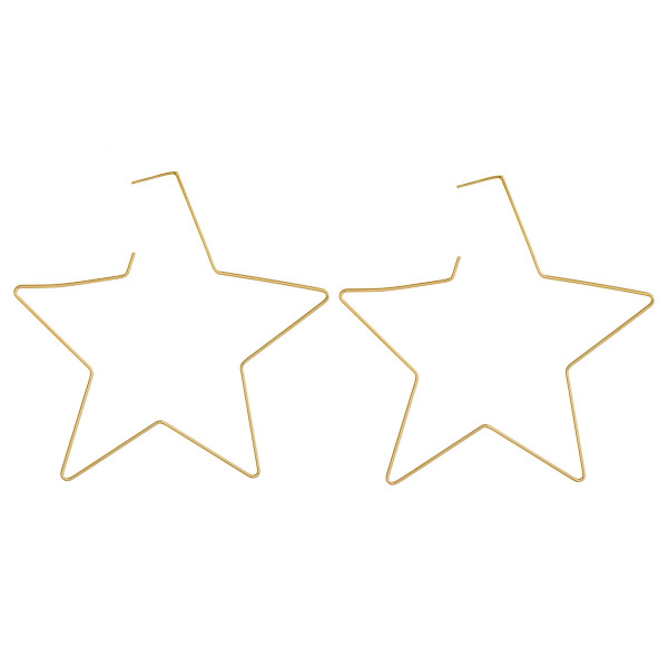"""Large dainty star hoop earrings featuring a stud post. Approximately 3"""" in length."""