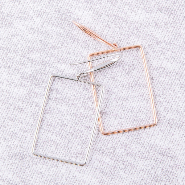 "Metal square drop earrings. Approximately 1.5"" in length."