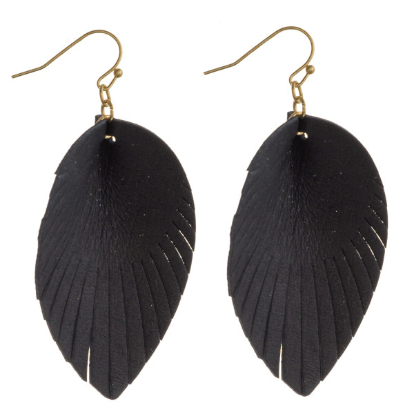 "Faux leather feather inspired drop earrings. Approximately 2.5"" in length."