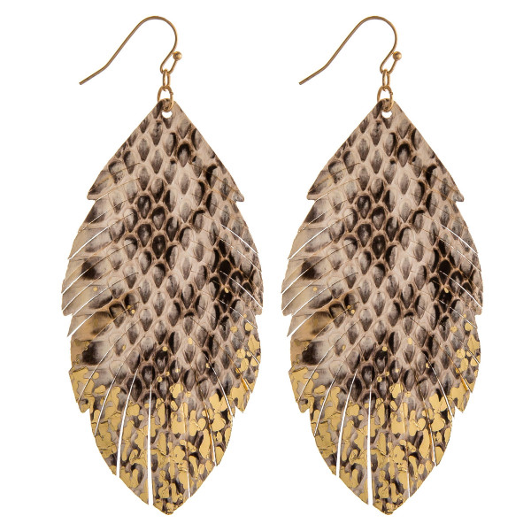 """Faux leather feather earrings featuring snakeskin and gold metallic details. Approximately 3.5"""" in length."""