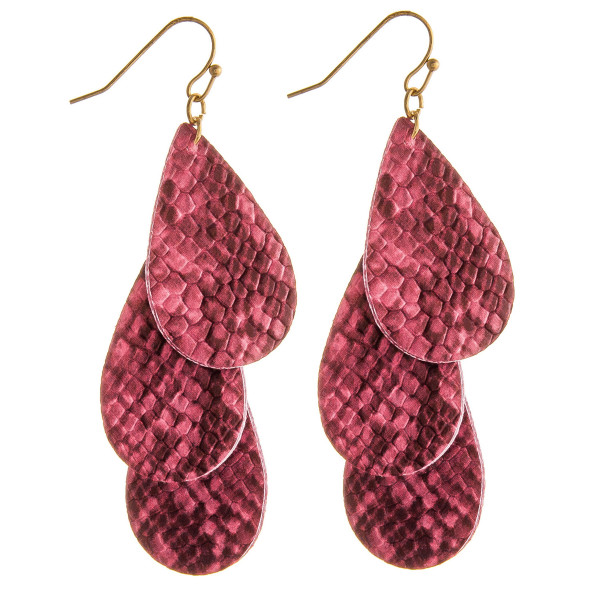"""Faux leather drop earrings featuring trio layered teardrop accents with snakeskin details. Approximately 2.5"""" in length."""
