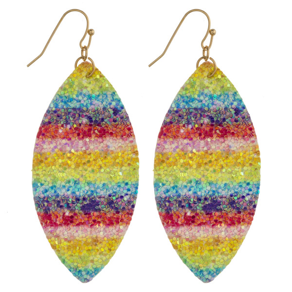 "Faux leather pointed oval earrings featuring rainbow details with glitter accents. Approximately 2.5"" in length."