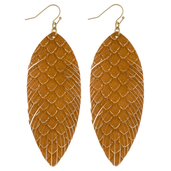 """Faux leather feather earrings with mermaid scale print metallic accents. Approximately 3.5"""" in length."""
