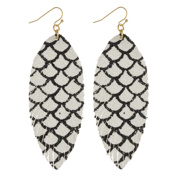 """Faux leather feather earrings with mermaid scale print glitter accents. Approximately 3.5"""" in length."""