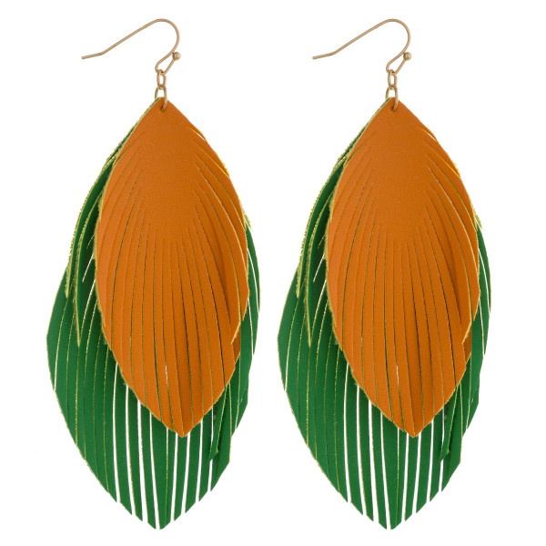 "Large double faux leather feather inspired drop earrings. Approximately 4"" in length."
