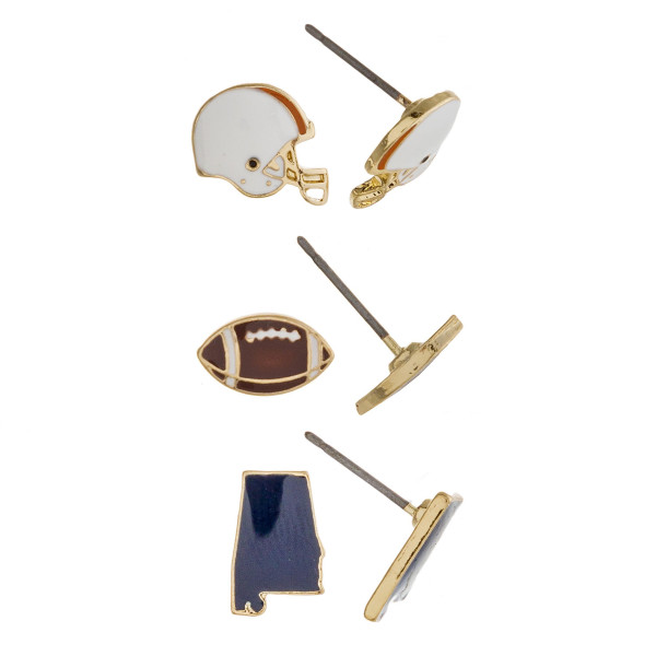 Trio stud earring set featuring football helmet, football and Alabama state details. Approximately 1cm each in size.
