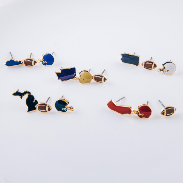 Trio stud earring set featuring football helmet, football and Pennsylvania state details. Approximately 1cm each in size.