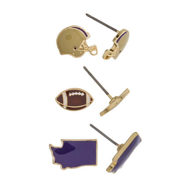 Trio stud earring set featuring football helmet, football and Washington state details. Approximately 1cm each in size.