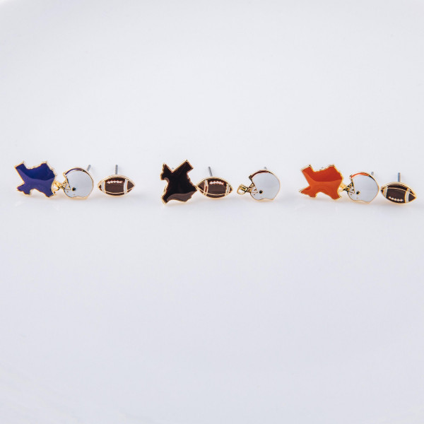 Trio stud earring set featuring football helmet, football and Texas state details. Approximately 1cm each in size.