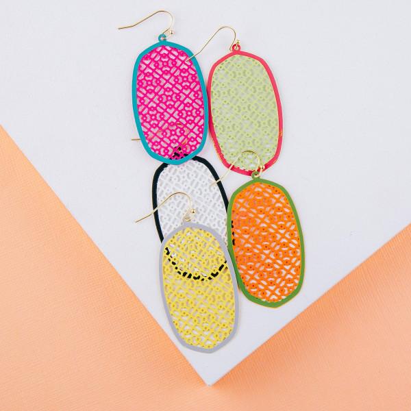 "Long filigree inspired drop earrings. Approximately 2"" in length."