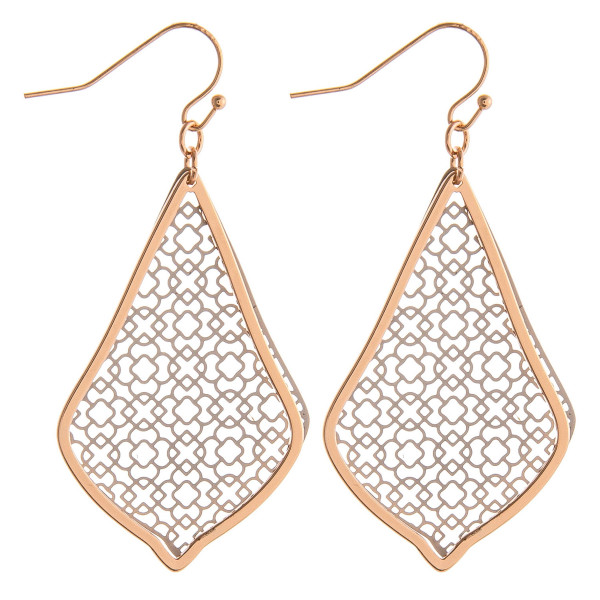 """Double layered pointed teardrop filigree inspired earrings. Approximately 2"""" in length."""