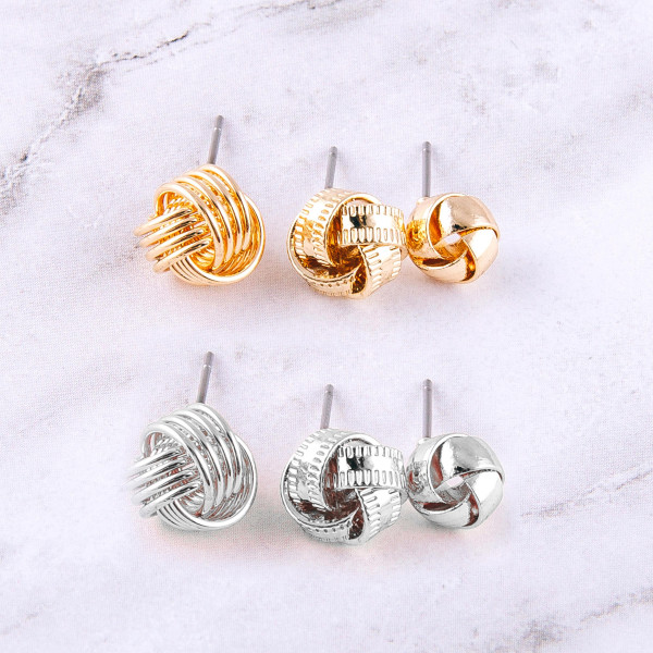 Tied knot stud earring set. Approximately 1cm each in size.
